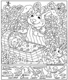 Mother's Day Rabbit Hidden Picture