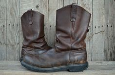 Vintage RED WING Pecos Pull On Crepe Sole Work Boots, 13 B