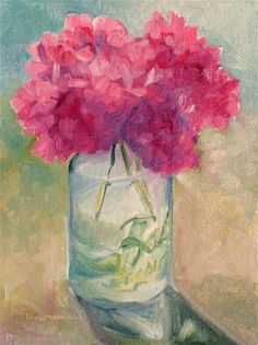 """Hydrangea in Ball Jar"" - Original Fine Art for Sale - © Carlene Dingman Atwater"