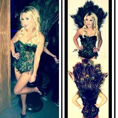 Shake your tail feathers.  What you need to do: Create a fan of peacock feathers to be attached to the back of your black corset. Cover the front of the corset with cut peacock feathers, and wear shorts with tights.  Source: Instagram user alliestellrecht