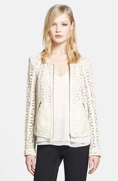 Faux Leather Trim Crocheted Jacket
