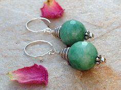 Love these green natural Jade Gemstone-Jade Earrings-Faceted by TinaStJohnJewelry