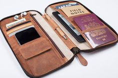 LEATHER TRAVEL WALLET small passport holder folio portfolio