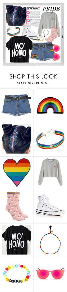 """#beproud"" by bstaudacher ❤ liked on Polyvore featuring Polaroid, INC International Concepts, Forever 21, Converse, Shashi, Fad Treasures, Ray-Ban and pride"