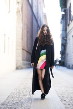 Erika Boldrin from My Free Choice in REDValentino Spring/Summer 2016 PreCollection Rainbow Dress and RED(V) bag! On http://www.myfreechoice.net/2015/11/red-valentino-dress-topshop-coat-red-valentino-bag-boy-shoes.html