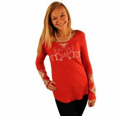 Long Sleeve Waffle Shirt in Red with Diamond Sleeve Detail by Judith March