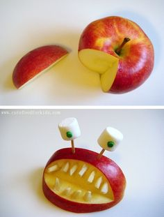 spooky monster made from apples, nuts and marshmallow eyes. Simple fun creative non-candy Halloween snack ideas for kids. Healthy Halloween party snack options for kids or adults. Check out all 64 ideas for homemade non candy Halloween snack recipe ideas. Halloween Snacks For Kids, Healthy Halloween Treats, Spooky Treats, Halloween Ideas, Dulces Halloween, Halloween Dinner, Halloween Foods, Scary Halloween, Holiday Candy