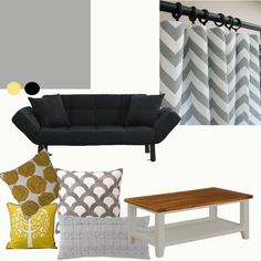 Image detail for -saucyhelp: Chevron or rugby stripe curtains? House Inside, Family Room, Home Goods, Striped Curtains, Interior Design Boards, Home Decor, Yellow Pillows, Room, Chevron Curtains