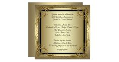Gold swirls gold 50th wedding anniversary party invitation. Black & gold swirls gold 50th wedding anniversary party invitation is easily customized for your event by adding your event details, font style, font size & color, and wording.