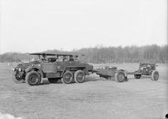 Morris Commercial CDSW, 6 x 4, Artillery Tractor of 8th Field Battery, Royal Artillery, towing a 25 pounder field gun and limber.