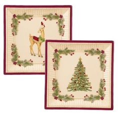 Grasslands Road Deck the Halls Dessert Plates, 8-Inch, Set of 4 by amscan - kitchen. $72.00. Each plate is individually packaged in a gift box ready to be gifted this season. High gloss ceramic with lots of detail and color featuring a Christmas tree and deer wearing a festive wreath of holly around its neck. See all of our matching Grasslands Road Deck the Halls tabletop items. Ceramic is microwave, dishwasher and oven safe up to 350 degrees Fahrenheit. Easy and simple way to ...