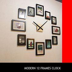 Homeloo Modern 12 Wood Wooden Photo Picture Frame DIY Wall Clock (Black), http://www.amazon.com/dp/B00J8COQJW/ref=cm_sw_r_pi_n_awdm_FvfJxbPKDGCDJ