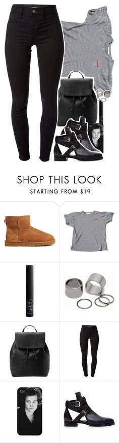 """""""blackbear - idfc"""" by daisym0nste ❤ liked on Polyvore featuring UGG Australia, NARS Cosmetics, Pieces, MANGO and J Brand"""