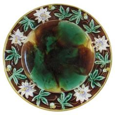 Check out this item at One Kings Lane! Antique Majolica Floral Serving Plate