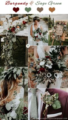 2019 Trendiest Marsala/Burgundy Wedding Colors--marsala and sage green wedding with green leaves centerpieces, bouquets, and bridal crown, fall and winter weddings . colors winter Most Popular Wedding Colors for Fall and Winter Burgundy Wedding Colors, Winter Wedding Colors, Winter Weddings, Blue Weddings, Fairytale Weddings, Rustic Weddings, Unique Weddings, Winter Wedding Ideas, Burgendy Wedding