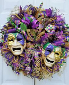 Large Mardi Gras Wreath-Mardi Gras Masquerade Wreath-Whimsical Mardi Gras Wreath-Fat Tuesday Wreath-Mesh Mardi Gras Wreath-Mardi Gras Door Large Mardi Gras Wreath-Mardi Gras by StudioWhimsybyBabs on Etsy Mardi Gras Food, Mardi Gras Carnival, Mardi Gras Party, Mardi Gras Centerpieces, Mardi Gras Decorations, Christmas Tree Decorations, Christmas Wreaths, Mardi Gras Wreath, Pallet Christmas Tree