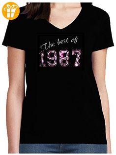 Shirt 50 Geburtstag Damen Strass Shirt mit Jahreszahl zum 30. The best of 1987, T-Shirt, Grösse L, schwarz - Shirts zum 30 geburtstag (*Partner-Link)
