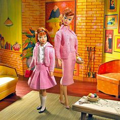 Vintage Barbie and Skipper. I had the outfits and a Red hair Skipper, but my Barbie was blonde.