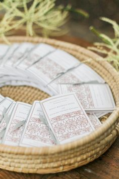 Calligraphy and Design by: Lowcountry Paper Co. | Ceremony Programs | Copper Ink | Illustration | Brays Island Wedding | Gray Ribbon