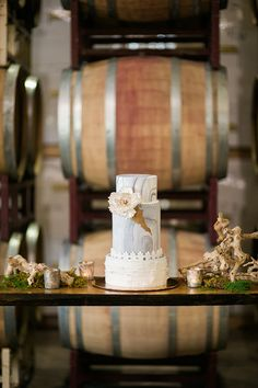 blue and gold wedding cakes - photo by Christa Taylor Photography http://ruffledblog.com/italian-winery-wedding-inspiration