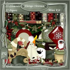 Mini Scrapkit Vintage Christmas [Denise Creationz] - $1.10 : , Exclusive Scrapping Divas