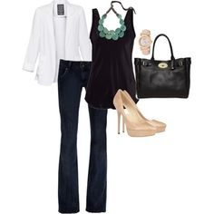 it's my business :: jeans, black tank, white blazer, nude pump, green necklace
