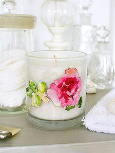 Make a découpage floral candle
