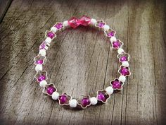 Child Size Bracelet Silver Star Spacer Beads Beaded Stretch Bracelet with White and Fushia Pink Bead Accents #fashion #etsyfinds