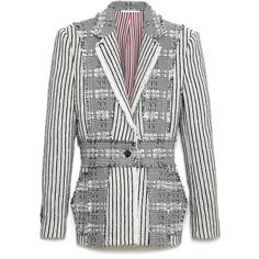 Thom Browne Summer Tweed Norfolk Jacket (30.007.995 IDR) ❤ liked on Polyvore featuring outerwear, jackets, summer jacket, white jacket, tweed jacket, white tweed jacket and thom browne