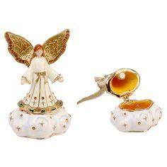 Enamel Angel Figurine and Keepsake Box