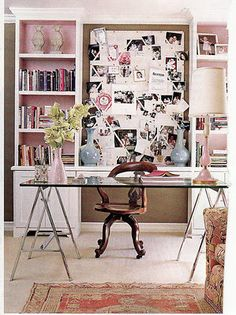 Another gorgeous work space that shows how glamorous pink can be.