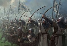 Stark Longbowmen by Stefan Kopinski Medieval Knight, Medieval Art, Medieval Fantasy, Medieval Archer, Fantasy Battle, Fantasy Armor, Dark Fantasy, Fantasy Concept Art, Fantasy Character Design