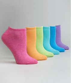 Neon socks not only are in trend for spring but make it easier to sort come laundry time. Heck, that's true for all patterned socks, give it a try you'll be pleasantly surprised! Women Socks, Pet Bottle, Patterned Socks, Liner Socks, Colorful Socks, Bare Necessities, 6 Packs, Cute Tops, Hosiery