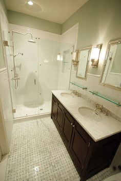 Paint is Benjamine Moore's Quiet Moments. Marble tile floor with ming green accents. Restoration Hardware bath accessories