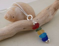 Rainbow Sea Glass Stack Sterling Silver Necklace by SeahamWaves, £25.00