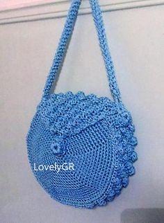 Women Crochet Round Bag  Macrame Cord Light Blue Color Bags&Purses