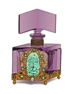 Czechoslovakian amethyst crystal perfume bottle ` - May 2015 Crystal Perfume Bottles, Antique Perfume Bottles, Vintage Perfume Bottles, Glass Bottles, Perfumes Vintage, Art Nouveau, Beautiful Perfume, Amethyst Crystal, Glass Art