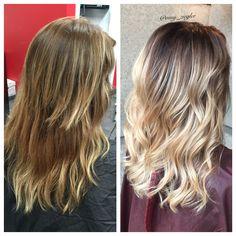 Before&After blonde ombre/balayage by @amy_ziegler #versatilestrands#askforamy