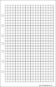 This daily planner page of grid or graph paper goes on the right-hand side of your desktop organizer sized datebook. It is oriented vertically. Free to download and print