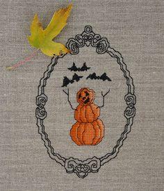 Happy Pumpkinmen cross stitch pattern. #Halloween #cross_stitch #patterns