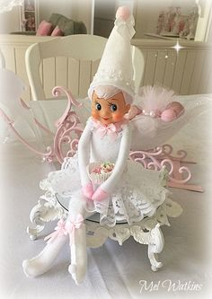 Where can I get this for Miss Reece? Miss Snow Drop Vintage white and pink elf xo Pink Christmas Decorations, Purple Christmas, Noel Christmas, Merry Little Christmas, Retro Christmas, Vintage Holiday, All Things Christmas, Christmas Crafts, Christmas Ornaments