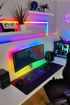 Gaming Computer Setup, Gaming Room Setup, Pc Setup, Gamer Bedroom, Bedroom Setup, Home Studio Setup, Home Library Design, Video Game Rooms, Game Room Design