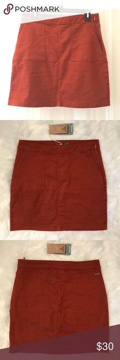 NWT Prana Organic Cotton Skirt Red and burnt orange colored casual mini skirt with pockets and side zipper. Prana Skirts Mini