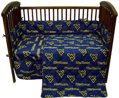 1-15707997-WM-AU. This West Virginia Mountaineers Crib Set includes a reversible comforter, two fitted sheets, bed skirt and bumper pad. All items are 100% cotton sateen 200 thread count for a softer feel than any other collegiate bedding available. The comforter, sheets, bed skirt, and bumper pad are printed with all over pattern. The comforter and bumper pad are also quilted for greater stability and unique look. Show your friends and family that your little one has West Virginia...