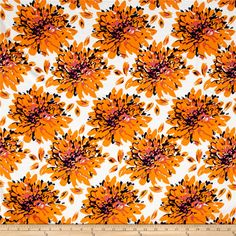 Designer Rayon Challis Floral Golden/Navy/Pink from @fabricdotcom  This soft and very lightweight rayon fabric has a beautiful fluid drape and soft hand. It is perfect for creating shirts, blouses, gathered skirts and flowing dresses with a lining. Colors include orange, navy, pink and white.