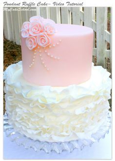 Fondant Ruffle Cake~Video Tutorial by MyCakeSchool.com