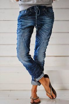 Casual Paneled Solid Side Pockets Self-tie Jeans - insnova