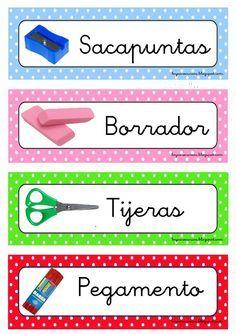 Polka Dot Classroom, Classroom Labels, Classroom Supplies, Classroom Themes, Spanish Classroom, Teaching Spanish, Teaching English, Class Labels, School Labels