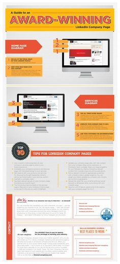 How to Make Your LinkedIn Company Page Award Worthy INFOGRAPHIC  Takeaways:  On the front page, use all the space given to you.  Keep your page fresh and up-to-date.  Use all three banners on the 'Services' tab.  Ask your customers for recommendations.