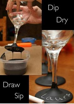 chalkboard paint on the base of a wine glass